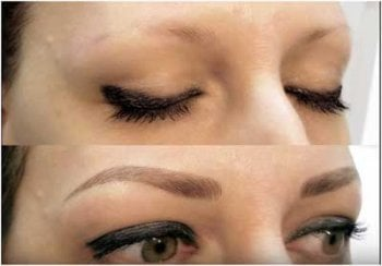 A before and after image of microbladed eyebrows