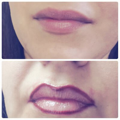 Photo showing before and after lip tattoo