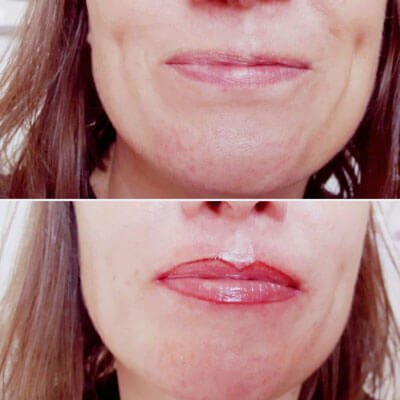 A photo showing lip liner before and after