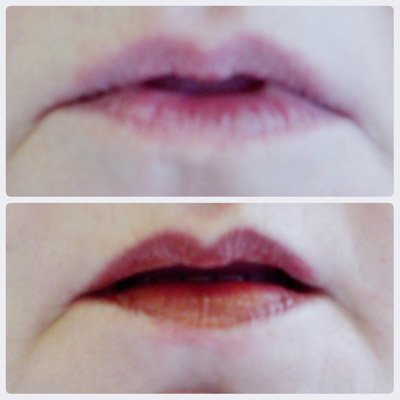 A photo showing lip tattoo before and after