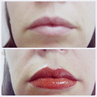 A photo showing microblading lips