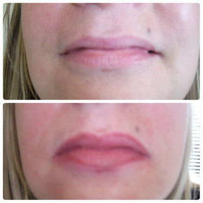 A photo showing semi permanent lip tattoo